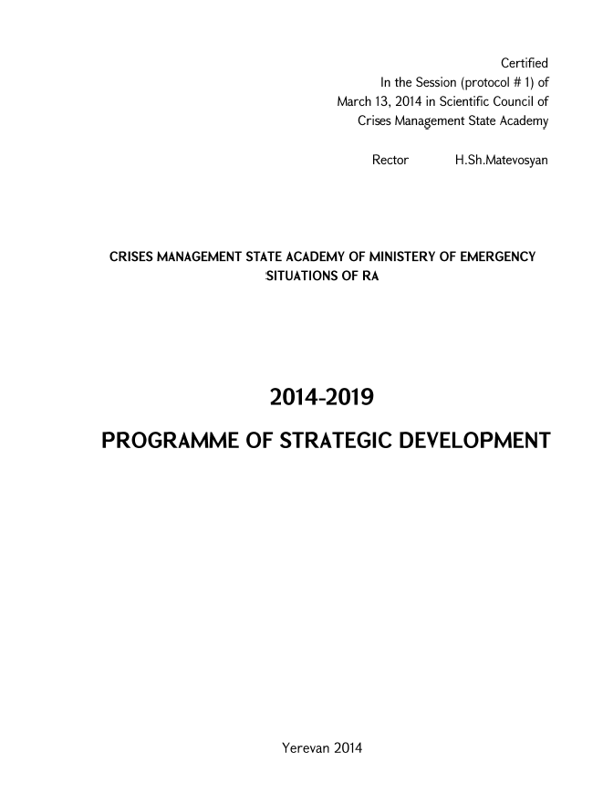 PROGRAMME OF STRATEGIC DEVELOPMENT